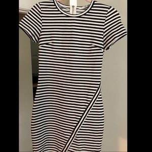 Tea & Cup Black and White Stripped Dress, size S
